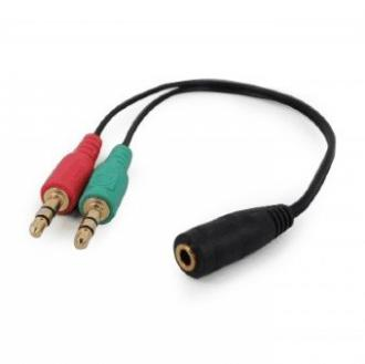 konektor 2x jack IN 3,5 mm audio stereo + mikrofón na 4 pinový jack OUT 3,5mm, CABLEXPERT